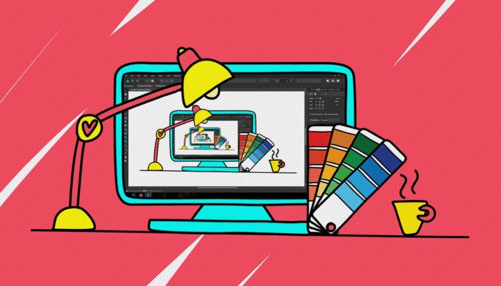 Ilustração de um monitor feito por uma ilustradora