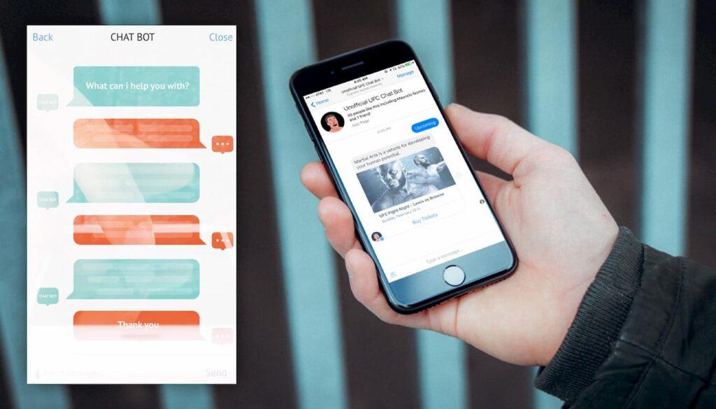 Pessoa segurando um smartphone. Enquanto conversa com um chatbot. Uma das tendências do marketing digital em 2019.