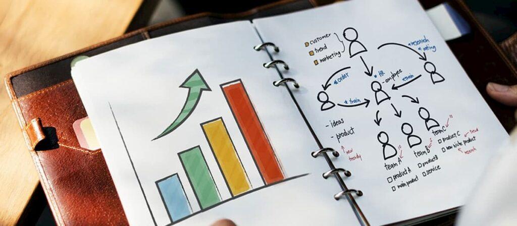Foto de uma pessoa que trabalha em uma agência de marketing digital olhando um desenho de um gráfico desenhado em um caderno.
